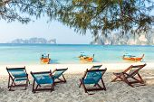 foto of koh phi-phi  - Bamboo beach chairs and traditional long - JPG