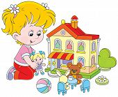 pic of kiddie  - Little girl playing with a small doll - JPG