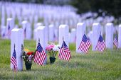 stock photo of headstones  - Arlington National Cemetery with a flag next to each headstone during Memorial day  - JPG
