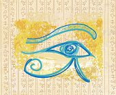 stock photo of horus  - eye of horus on abstract background  - JPG