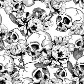 stock photo of day dead skull  - Skull and Flowers Seamless Background Day of The Dead - JPG