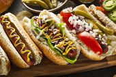 stock photo of wieners  - Gourmet Grilled All Beef Hots Dogs with Sides and Chips - JPG
