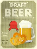 stock photo of pretzels  - Beer Retro Poster with Mug of Lager Beer and Pretzels - JPG