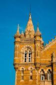 stock photo of british bombay  - Famous Victoria Terminus train station in Mumbai India - JPG