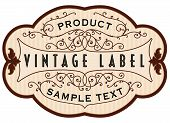 stock photo of scrollwork  - Vintage vector label illustration with pen and ink over parchment for food or beverages or a druggist available in several different colors and layouts in gallery - JPG