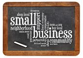 picture of local shop  - small business word cloud on a vintage slate blackboard - JPG