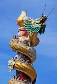 picture of 13 year old  - Art Chinese style dragon statue in the temple district of Bangkok - JPG