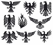 stock photo of eagles  - Heraldic eagle set vector illustration on white background - JPG