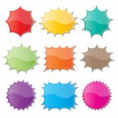 pic of starburst  - set of blank colorful paper starburst speech bubbles - JPG