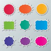 foto of starburst  - set of blank colorful paper starburst speech bubbles - JPG