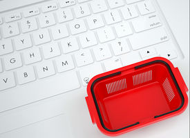 foto of qwerty  - Shopping basket on the keyboard - JPG