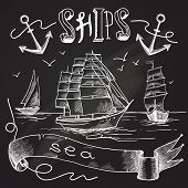 stock photo of sail ship  - Ship chalkboard poster with sea birds anchors and sailing elements vector illustration - JPG