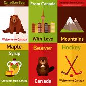 pic of beaver  - Canada colored mini poster set with canadian bear mountains maple syrup beaver hockey isolated vector illustration - JPG