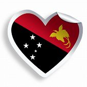 picture of papua new guinea  - Heart sticker with flag of Papua New Guinea isolated on white - JPG