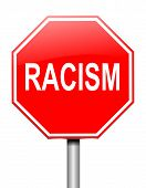 picture of racial discrimination  - Illustration depicting a sign with a racism concept - JPG