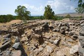 stock photo of biblical  - Ruines of houses in the biblical village Bethsaida which is located about 2 kilometers from the lake of Galilee - JPG