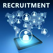 picture of recruiting  - Recruitment illustration with tablet computer on blue background - JPG