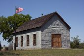 stock photo of texas star  - One room school house in Johnson City, Texas where President Lyndon B. Johnson attended school and where he signed several pieces of education legislation during his presidency. ** Note: Visible grain at 100%, best at smaller sizes - JPG