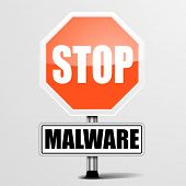 stock photo of malware  - detailed illustration of a red stop Malware sign - JPG