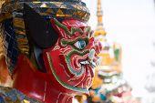 pic of guardian  - Red Giant Guardian in Wat Phra Kaew temple bangkok thailand - JPG
