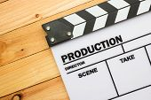 picture of slating  - A movie slate film on wooden table - JPG