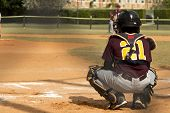 foto of little-league  - Kids playing Baseball in youth league in the park - JPG