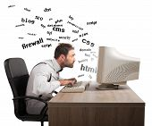 pic of understanding  - Businessman at work tries to understand internet terms - JPG
