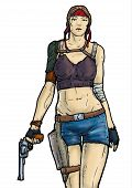 picture of revolver  - The girl with a revolver after the apocalypse - JPG
