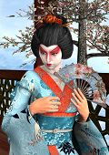 picture of geisha  - 3D digital render of a beautiful geisha wearing traditional clothes sitting in a pavilion blue sky and cherry blossom background - JPG
