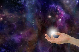 image of mudra  - Gyan Mudra Hand Position creating the Spark of Life on a deep space background with planets - JPG