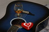 pic of glass heart  - Heart glass and guitar on Valentines day