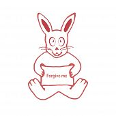 stock photo of forgiveness  - Raster illustration of cute white rabbit with funny expression holding a banner with forgive me text isolated in white background - JPG
