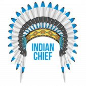 stock photo of indian chief  - Indian chief hat with plumage - JPG
