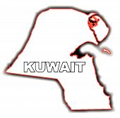 stock photo of kuwait  - Outline map of the Arab League country of Kuwait - JPG
