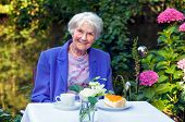 pic of blazer  - Smiling Old Woman in Blue Violet Blazer Sitting at the Garden Table with Coffee and Cake Smiling at the Camera - JPG