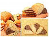 stock photo of fresh slice bread  - Fresh bread wheat ears and bread slices on the wooden board isolated on white - JPG