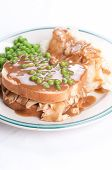 pic of diners  - diner style open faced hot chicken sandwich with mashed potatoes - JPG