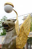 stock photo of metal sculpture  - Griffon sculpture of Bank bridge in St.Petersburg Russia. ** Note: Soft Focus at 100%, best at smaller sizes - JPG