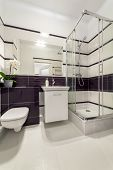 picture of shower-cubicle  - Modern bathroom with shower cubicle in violet color - JPG