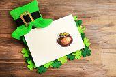 stock photo of leprechaun  - Greeting card for Saint Patrick - JPG