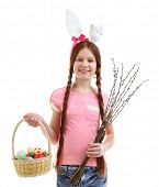 stock photo of pussy-willows  - Beautiful little girl holding wicker basket with Easter eggs and pussy - JPG