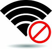 stock photo of antenna  - No Signal or Bad antenna Symbol Eps 10 Vector Illustration - JPG
