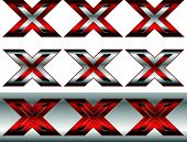 image of x-rated  - Eps 10 Vector Illustration of Triple X Cross Graphics in Metallic and Red - JPG