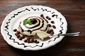image of panna  - Tasty panna cotta dessert on plate - JPG