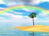 stock photo of tropical island  - An island scene with palm tree and rainbow - JPG