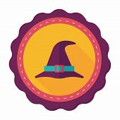 image of witch  - Witch Hat Flat Icon With Long Shadow - JPG