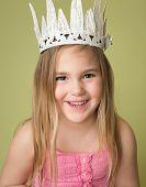 pic of princess crown  - Happy smiling girl wearing a white crown princess pretend play - JPG