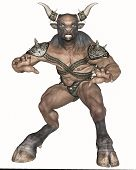 image of creatures  - 3D rendered fantasy minotaur creature on white background isolated - JPG