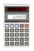 stock photo of lottery winners  - Old calculator showing a text on display  - JPG
