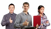 picture of job well done  - Team and man with laptop in his hands and woman shows well done - JPG